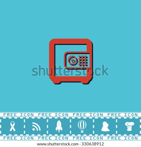 Safe money. Red flat symbol with dark shadow and bonus icon. Simple vector illustration pictogram on blue background - stock vector
