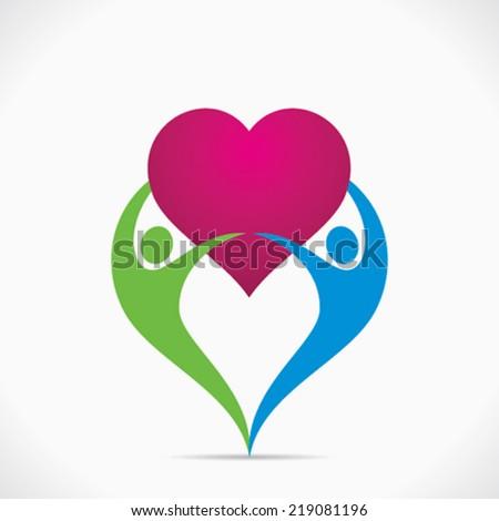 safe or healthy heart or romance  concept vector - stock vector