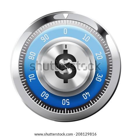 Safe 1 - password combination - stock vector