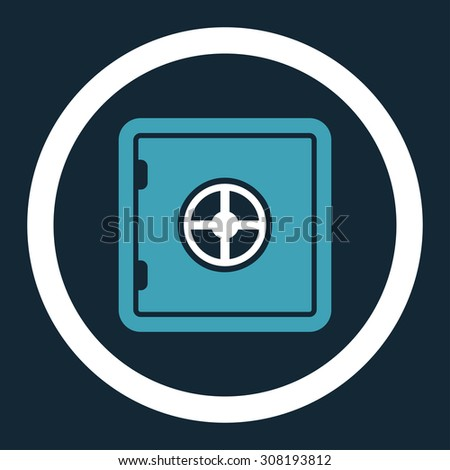 Safe vector icon. This flat rounded symbol uses blue and white colors and isolated on a dark blue background. - stock vector