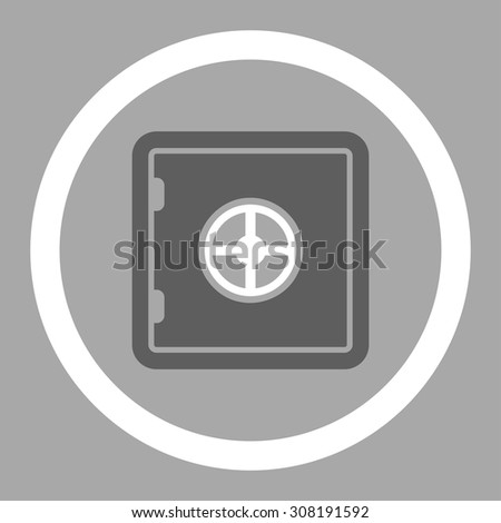 Safe vector icon. This flat rounded symbol uses dark gray and white colors and isolated on a silver background. - stock vector