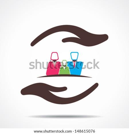 safe your family icon vector - stock vector