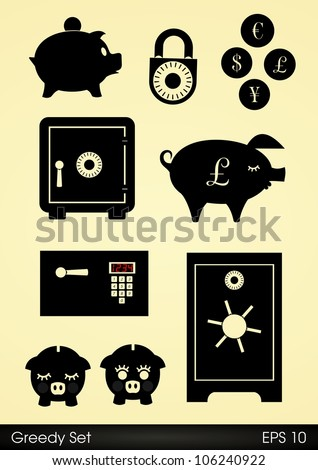 Safes, locks and piggy banks - stock vector