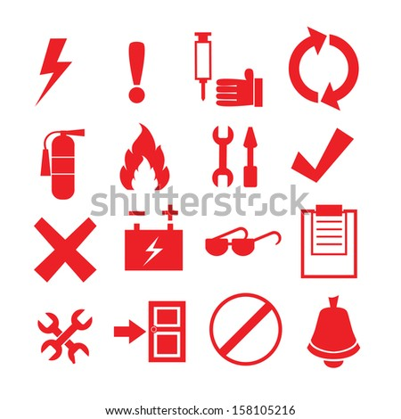 Safety and security icon set - stock vector
