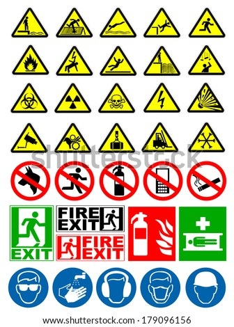 Safety and warning signs - stock vector