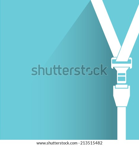 safety belt, blue background, flat and shadow theme design - stock vector