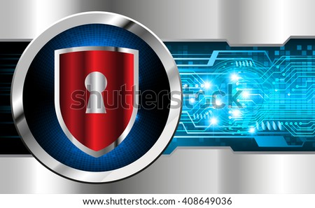 Safety concept, Closed Padlock on digital background, cyber security, Blue abstract hi speed internet technology background illustration. - stock vector