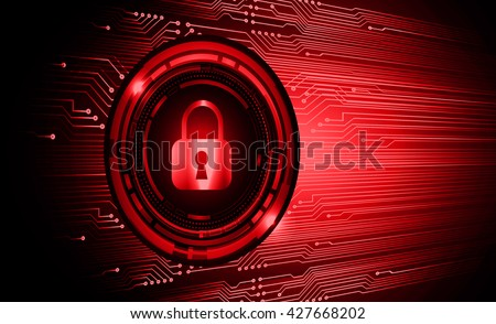 Safety concept: Closed Padlock on digital background, red abstract light hi speed internet technology. Cyber security concept. Cyber background. Cyber data digital Technology. - stock vector