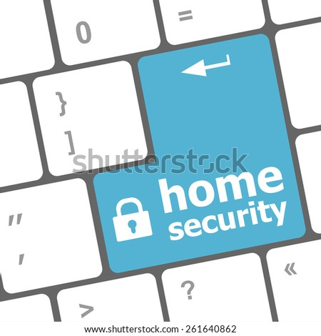 Safety concept: computer keyboard with Home security icon on enter button background - stock vector
