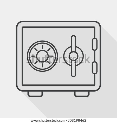 Safety Deposit Box flat icon with long shadow, line icon - stock vector