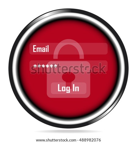 Safety Email and Password icon on red button. Protect account, Internet security concept