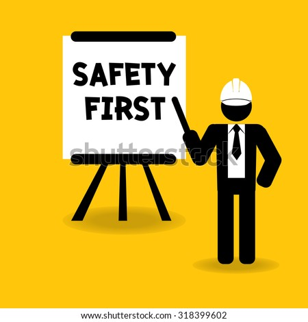 safety first presentation for training or teaching : business concept vector - stock vector