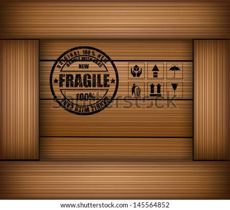 Safety fragile sticker icon on texture wooden box - stock vector