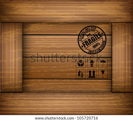 Safety fragile sticker icon on texture wooden box. Vector - stock vector