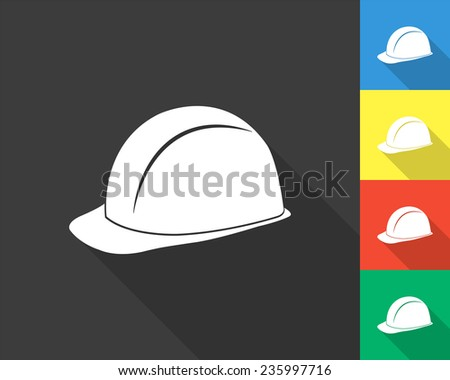 safety hard hat icon - gray and colored (blue, yellow, red, green) vector illustration with long shadow - stock vector