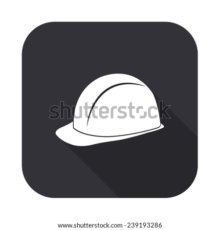 safety hard hat icon - vector illustration with long shadow isolated on gray - stock vector
