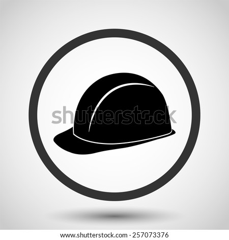 safety hard hat vector icon - black illustration - stock vector