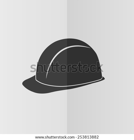 Safety hard hat vector icon. Effect of folded paper. Flat design - stock vector