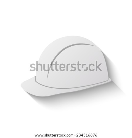 safety hard hat vector icon - paper illustration - stock vector