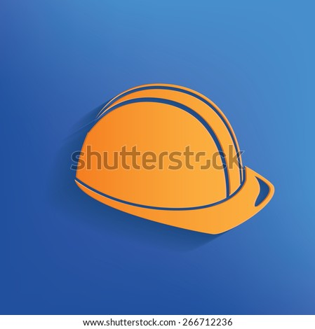 Safety hat design on blue background,clean vector - stock vector