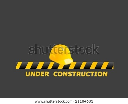 safety helmet under construction symbol - stock vector