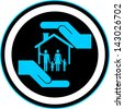 safety of house and family, icon vector - stock vector