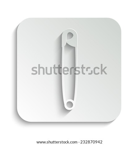 safety pin - vector icon with shadow on a grey button - stock vector
