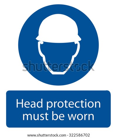 Safety sign, Head protection must be worn - stock vector