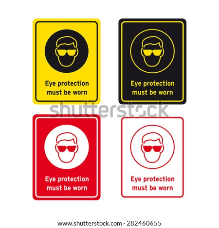 Safety Sign Vector Set Eye Protection Stock Vector 282460655
