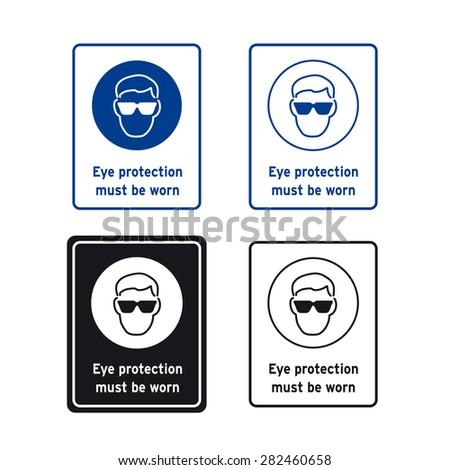 Safety Sign Vector Set Eye Protection Stock Vector 282460658