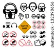 Safety signs for abrasive wheel on the angle grinder. bold line icons. Not allowed sign and safety first sign included - stock vector
