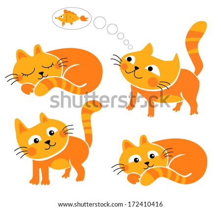 Saffron milk cap kittens. - stock vector