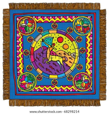 Sagittarius horoscope sign carpet - stock vector