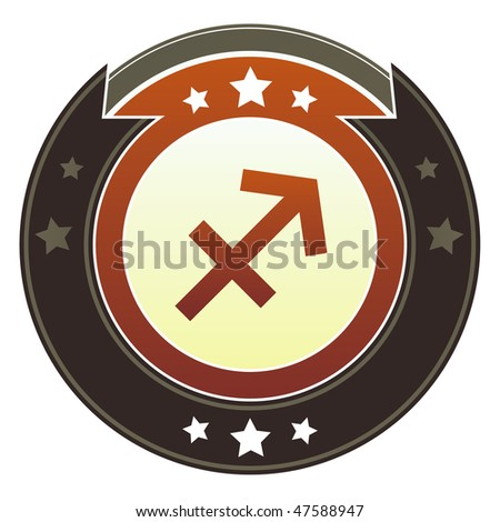 Sagittarius zodiac astrology icon on round red and brown imperial vector button with star accents suitable for use on website, in print and promotional materials, and for advertising.