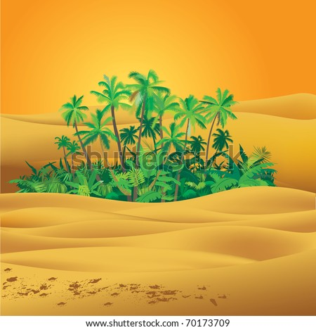 Sahara desert illustration - stock vector