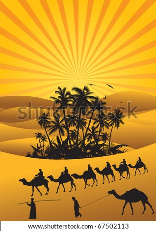 Sahara lifestyle with camel silhouettes. - stock vector
