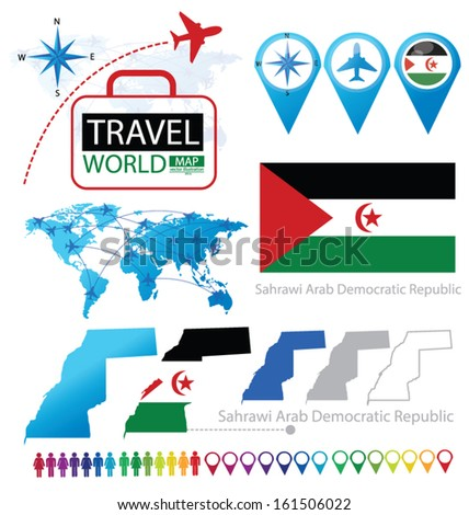 Sahrawi Arab Democratic Republic. flag. World Map. Travel vector Illustration.