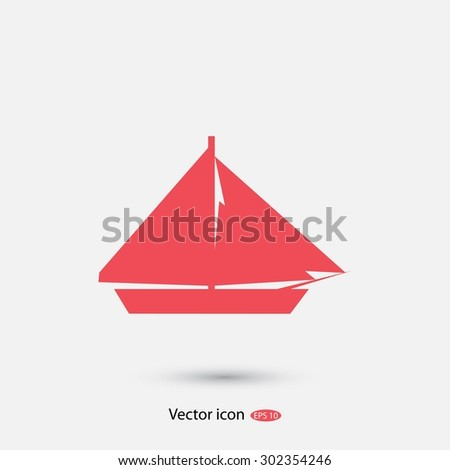 sail boat icon - stock vector