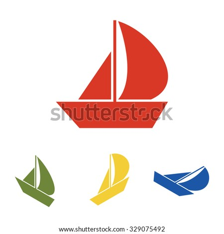 Sail Boat icon  set. Isometric effect - stock vector