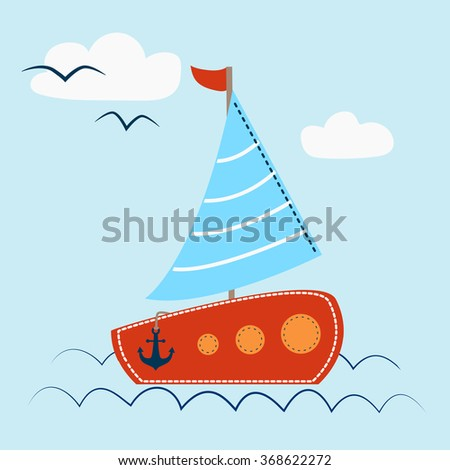 Sail Boat with waves and seagull - stock vector