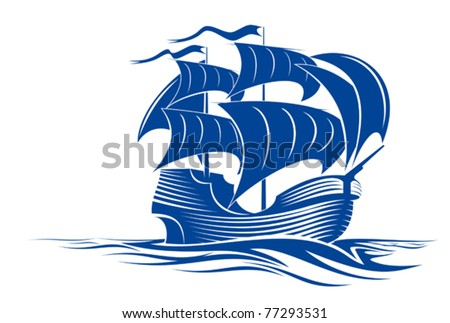 Sail ship in ocean water for travel or another design. Jpeg version also available - stock vector