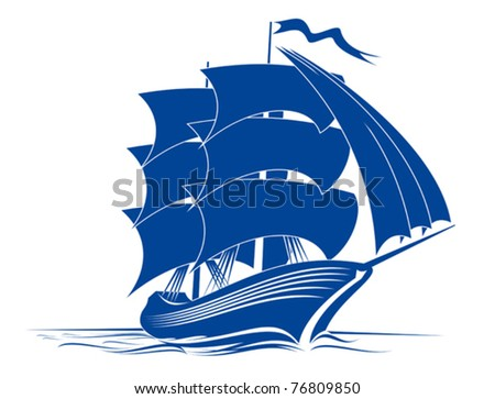 Sail ship in ocean water for travel or another design or logo template. Jpeg version also available in gallery - stock vector