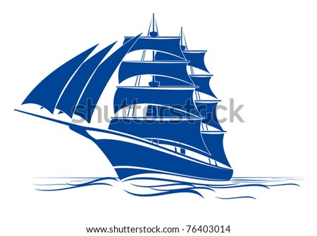 Sail ship in ocean water for travel or another design, such a logo. Jpeg version also available in gallery - stock vector