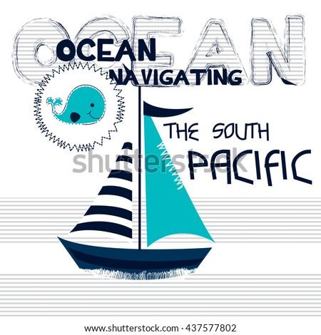 sailboat cartoon on striped background, whale cartoon vector illustration - stock vector
