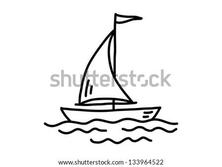 Sailboat drawing - stock vector