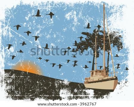 Sailboat Grunge background - stock vector