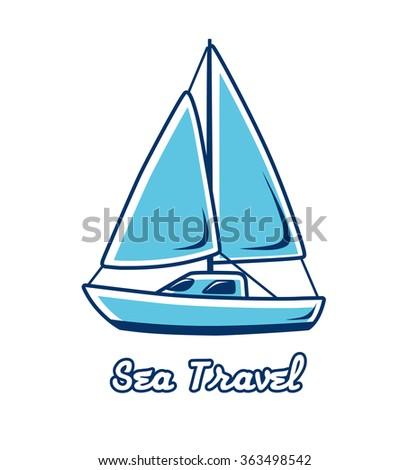 Sailboat illustration. - stock vector