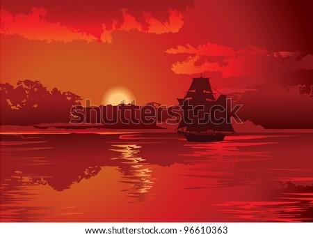 Sailboat in the sea. Vector art-illustration. - stock vector