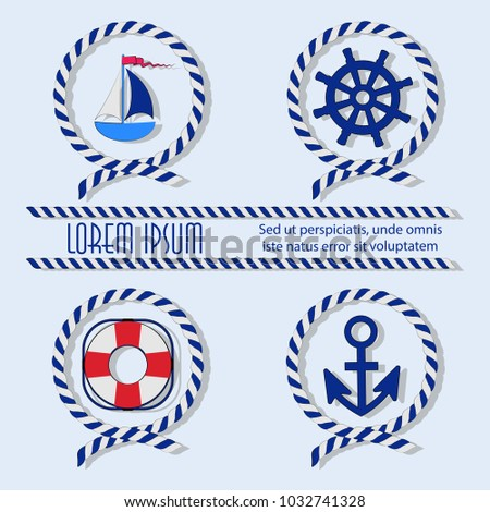 Sailboat life ring anchor helm sea rope set emblem