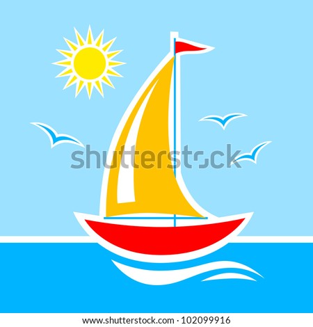 Sailboat on blue sea - stock vector